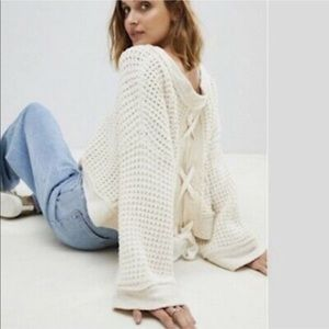 FREE PEOPLE Maybe Baby Lace Up Bell Chunky Sweater